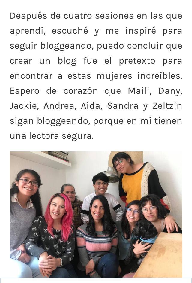 Egresadas del primer taller de blogging